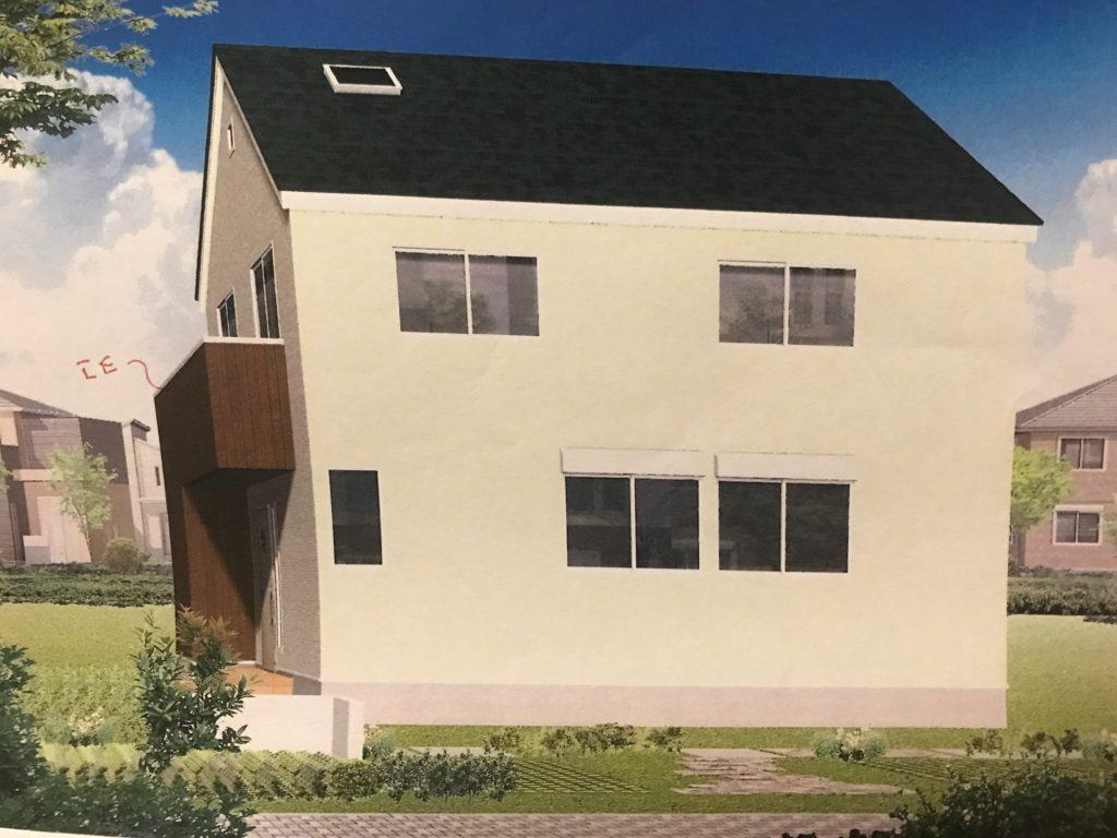 緑の屋根の一戸建て外観イメージ