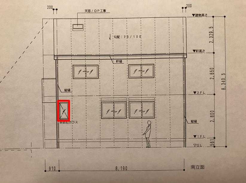 31坪一戸建ての立面図