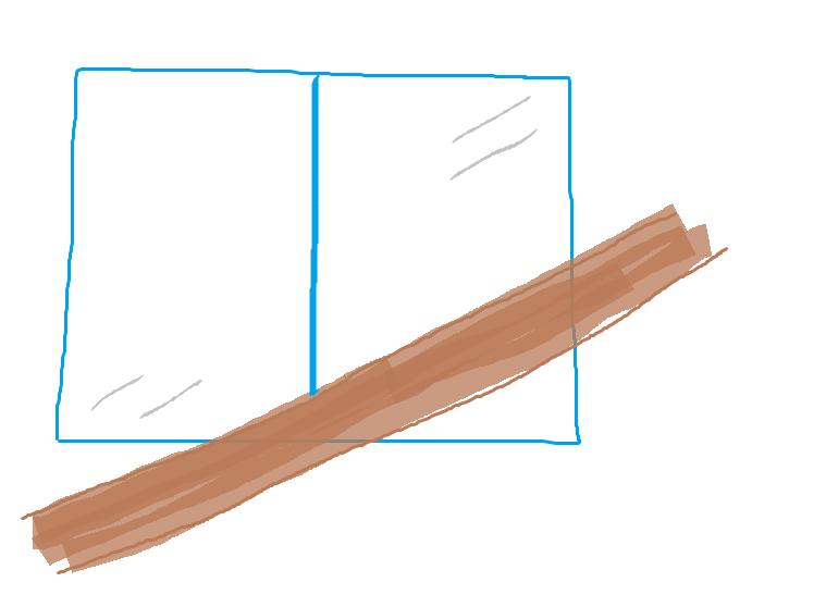 手すりが窓に重なる