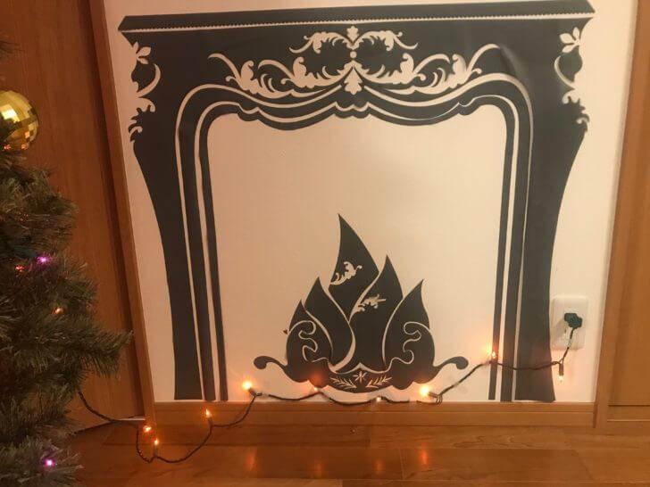 暖炉のウォールステッカー