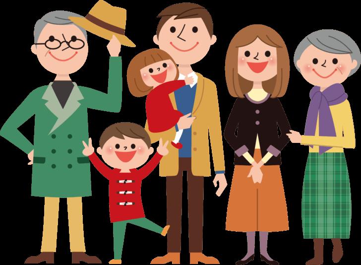 3世代家族のイラスト