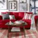 赤いソファがあるインテリア。似合う色はグレー・白・ベージュ
